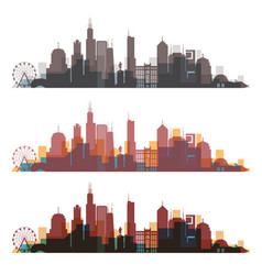 Chicago illinois skyline city colorfull silhouette vector