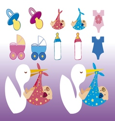 clip images baby shower girl and boy vector image vector image