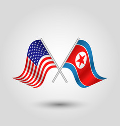 crossed american and korean flags vector image vector image