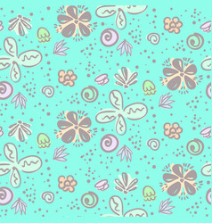 cute tender blue doodle floral pattern vector image vector image