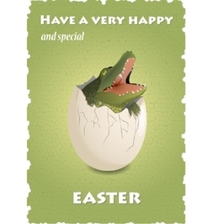 Happy Easter funny card with crocodile in eggshell vector image