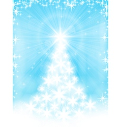 light blue christmas tree background vector image vector image