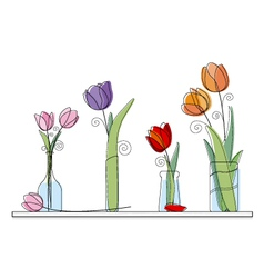 Tulip design on white background vector image vector image