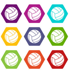 black volleyball ball icon set color hexahedron vector image