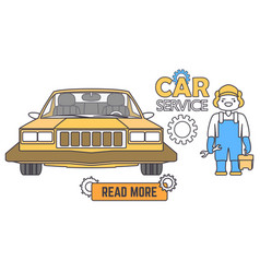 car service banner mechanic worker in car repair vector image vector image