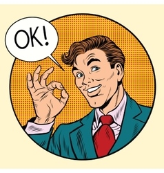 Joyful businessman OK gesture circular frame vector image