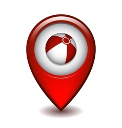 Red map pointer with beach ball vector image