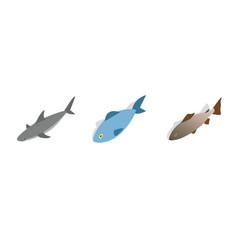 sea fish icon set isometric style vector image