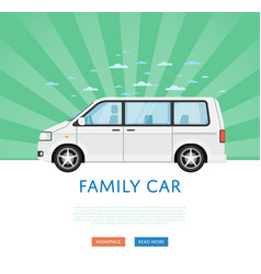 Website design with family minivan vector