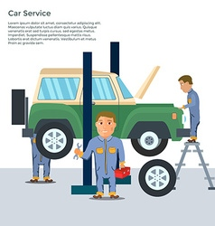Auto mechanic in repair service center with car vector image
