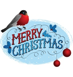 Bird on a tree in winter Christmas greeting card vector image vector image