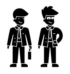 businessmen young icon blac vector image