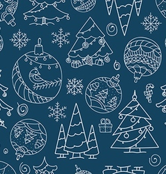 Christmas doodle elements seamless background vector image vector image