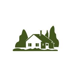 green villa house garden trees icon vector image