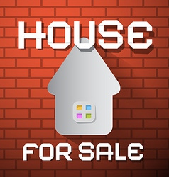 House For Sale Paper Title on Red Brick Wall vector image vector image