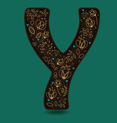 letter y with golden floral decor vector image vector image