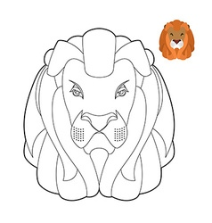 Lion coloring book Head of predator with shaggy vector image vector image