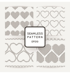 Set of seamless patterns with embroidered vector image vector image