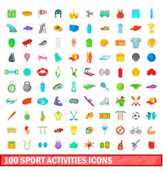 100 sport activities icons set cartoon style vector image
