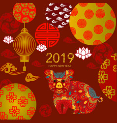 2019 chinese new year paper cutting vector image