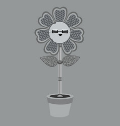 A metallic robot flower vector