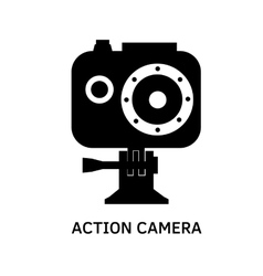 Action camera icon - black video cam symbol vector image