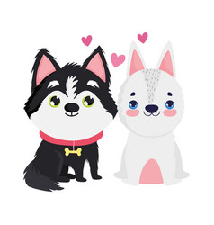 Adorable puppy and white dog sitting cartoon pets vector