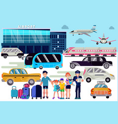 Airport transfer traveling people vector
