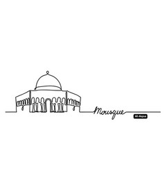 Al-aqsa dome on rock mosque hand drawn vector