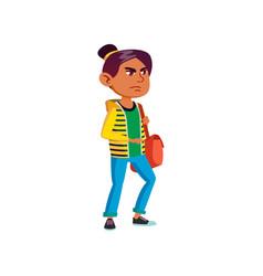 Angry girl walking with bag cartoon vector