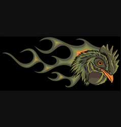 Angry rooster with flames vector
