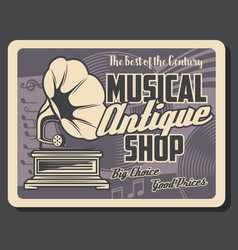 antique music instrument shop retro gramophone vector image