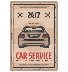 Auto repair service retro poster with vintage car vector
