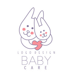 Baby care logo design emblem with two cute vector