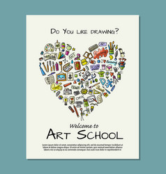 Banner for art school for your design vector