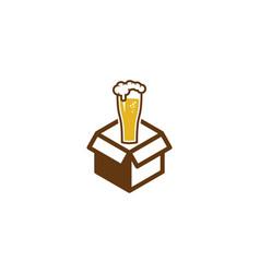 Beer box logo icon design vector