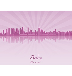 Belem skyline in purple radiant orchid vector