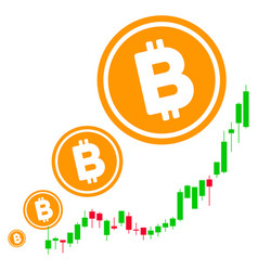 bitcoin inflation chart flat icon vector image