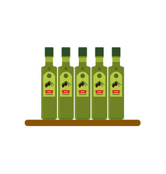 Bottles of olive oil flat style vector