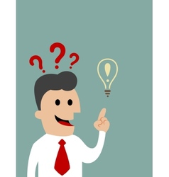 Businessman pointing toward a light bulb vector