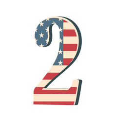 Capital 3d number two with american flag texture vector