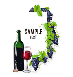 Card template with a glass of wine and grapes vector
