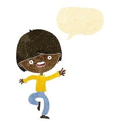Cartoon happy boy dancing with speech bubble vector