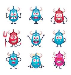 Cartoon horned monsters set vector
