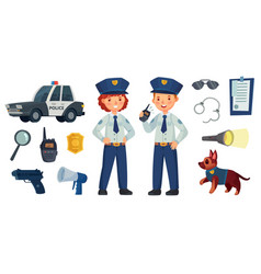 cartoon police kids little boy and girl in patrol vector image