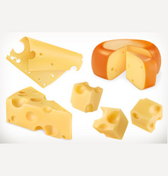 Cheese 3d icon set vector