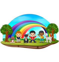children and dogs in the park on rainbow day vector image