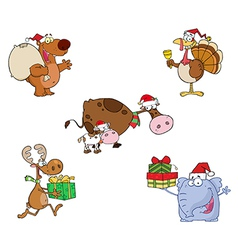 Christmas Animals-Collection vector