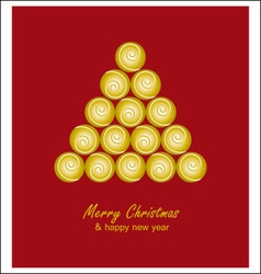 Christmas card with golden tree and balls on red vector