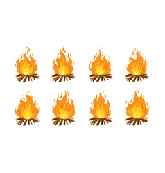 collection burning bonfires or campfires vector image